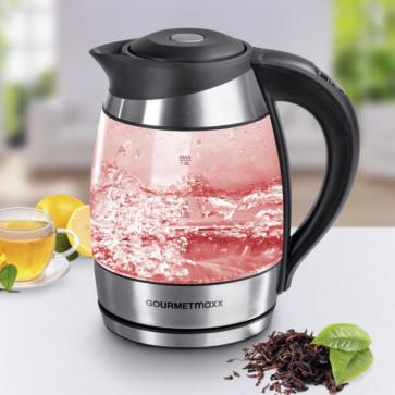 GOURMETmaxx Glas-Wasserkocher Edelstahl/Schwarz 1,8 L, mit Temperaturanzeige + Temperaturwahl