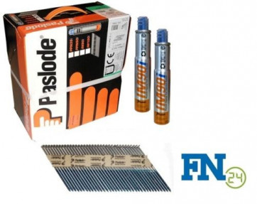 Paslode Impulse Packs 2500 Streifennägel 3,1 x 90 mm, blank (gerillt) + 2 x Gas