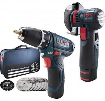Bosch Akku-Set 10,8 Volt mit GWS 10,8-76 und GSR 10,8-2 Li