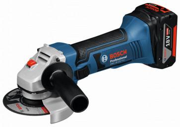 Bosch Akku-Winkelschleifer GWS 18-125 V-LI 18 Volt, 2 Akkus 5,0 Ah+1 Akku 4,0 Ah