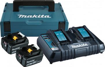 Makita Starter-Set 18 Volt, 5,0 Ah mit 2 Akkus 18 Volt / 5,0 Ah, Doppel-Ladegerät