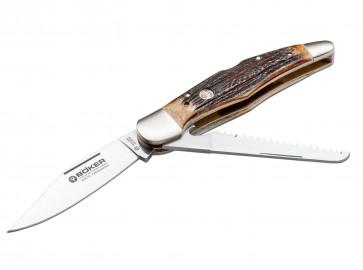 Böker Jagdmesser Duo 440C-Klinge 10 cm Backlock, mit feststellbarer Klinge und Säge