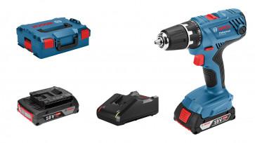 <ul> <li>Bosch Akkuschrauber GSR 18V-21</li> <li>2x Akku 18V 2,0Ah</li> <li>Schnellladegerät GAL 18V-40</li> <li>L-BOXX</li> </ul>