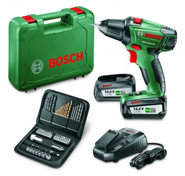 <ul> <li>Bosch PSR 14,4 Li-2</li> <li>2 Akkus 14,4V 2,5Ah</li> <li>Ladegerät</li> <li>Koffer</li> <li>51-teiliges Zubehör-Set</li> </ul>