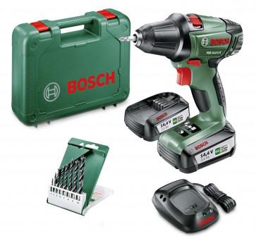 <ul> <li>Bosch PSR 14,4 LI-2</li> <li>2x 2,5Ah Akku</li> <li>Ladegerät</li> <li>8-tlg. Holzbohrer-Set</li> <li>Koffer</li> </ul>