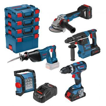 <ul> <li>Akku-Bohrhammer GBH 18V-26</ul> <li>Akku-Säbelsäge GSA 18V-Li</ul> <li>Akku-Winkelschleifer GWS 18V-10C</ul> <li>Akku-Schlagbohrschr. GSB 18V-60</ul> <li>Lampe GLI 18V-1200C</ul> <li>2x 8,0Ah, 1x 4,0Ah</ul> <li>Ladegerät</ul> </ul>