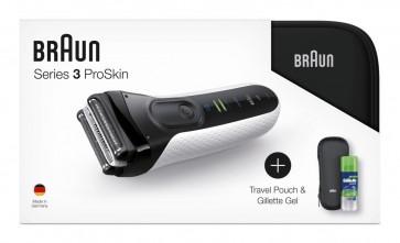 Braun Rasierer Series 3 3040S weiß mit Geschenk-Set - Reise-Etui und Gel
