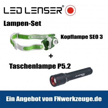 Led Lenser Lampen-Set Kopflampe Seo 3 + Taschenlampe P5.2