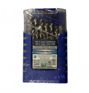 Heller HSS-G Spiralbohrerkassette, Metallbohrer 1-10 mm 19-teilig