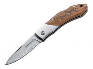 Magnum Messer Caveman Damast Damast-Klinge 8,2 cm, Backlock, Holzschale