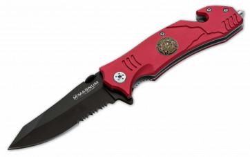 Magnum Messer Fire Fighter rot 440A-Klinge 8,6 cm, Reverse-Tantoklinge,