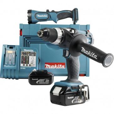 Makita Akku-Bohrschrauber BDF454RFX1 mit Lampe und 2 Akkus 3,0 Ah