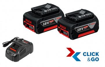 Bosch Basis-Set 18 Volt komplett mit Ladegerät und 2 Akkus 6,0 Ah im Karton
