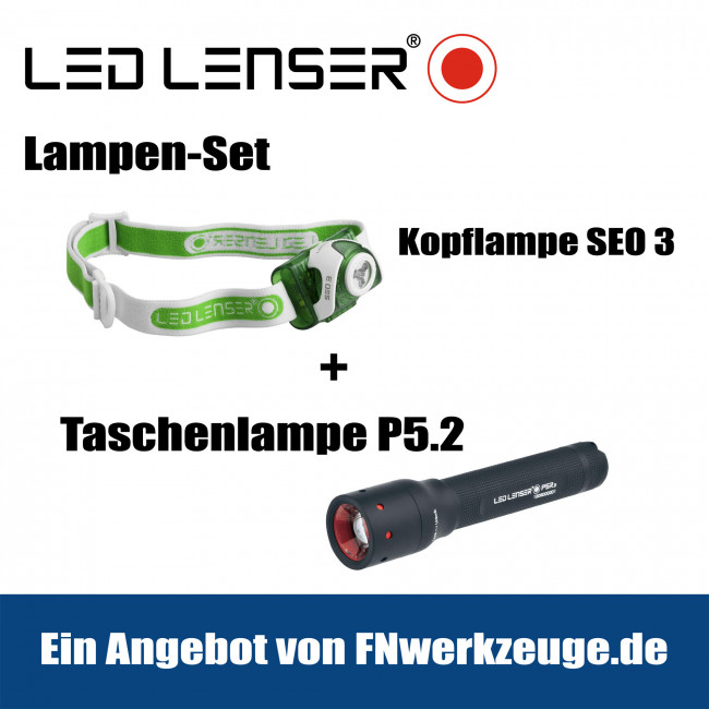 led lenser lampen set kopflampe seo 3 taschenlampe p5 2 online kaufen. Black Bedroom Furniture Sets. Home Design Ideas