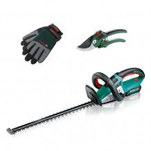 Bosch Akku-Heckenschere Advance HedgeCut 36 mit Akku, Astschere und Handschuhen